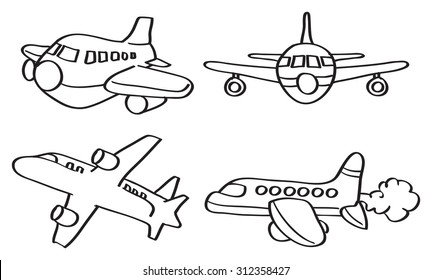 Set of four vector outline illustration of cartoon airplane in different perspective views isolated on white background.