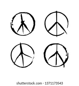 Set of four vector peace symbols. Sign pacifist, peace symbol, drawn by hand with a brush. Black Hippie sign on a white background.