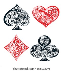 Set of four vector playing card suit symbols made by floral elements. Vintage stylized  illustration in black and red on white background. Works well as print, computer icon, logo
