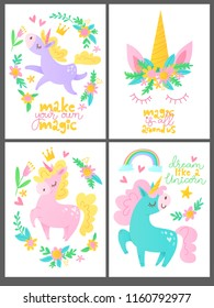 Set of four vector posters with funny cartoon unicorns and motivational  lettering. Poster and decoration for children room.
