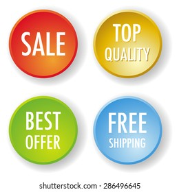 Set of four vector round badges - top quality, sale, best offer and free shipping.