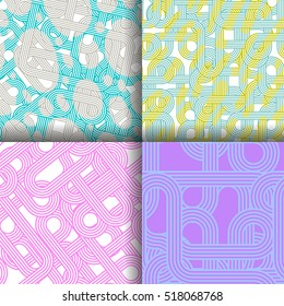 Set of four vector seamless organic rounded lines patterns in pastel colors abstract background