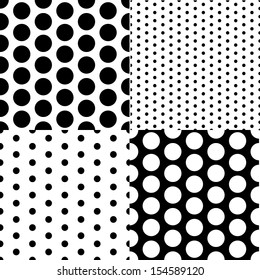 Set of four vector seamless patterns with small and large white and black peas