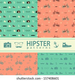 Set of four vector seamless patterns. Hipster lifestyle.
