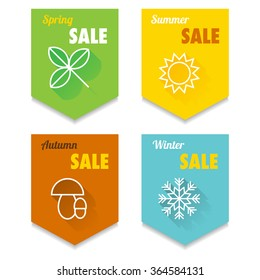 Set of four vector seasonal sale labels with four simple icons with long shadow.