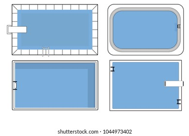 Set Of Four Vector Swimming Pools For Architecture Floor Plan In Top View On White Background