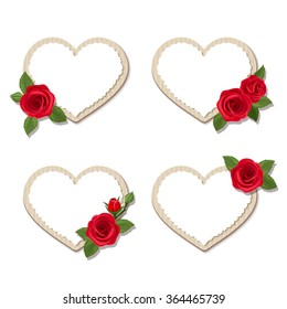 Set of four vector Valentine's day heart cards with red roses.