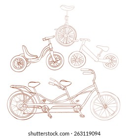 Set of four vehicles(bikes). Monocycle, tricycle, runbike, tandem bike. Vector illustration.