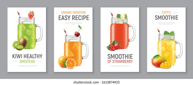 Set of four vertical realistic banners with cold fruit and berry smoothie in jars isolated vector illustration