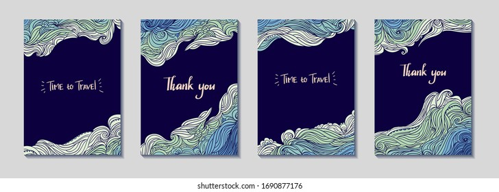 Set of four vertical waves borders. Elegant wavy striped frame. Hand-drawn banners in doodle style. Template for cards, invitations, flyers or posters. Text. EPS 10.