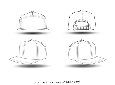 Set of four view Rap cap that can be used as mockups or templates. You can place your design and personalize those hats.
