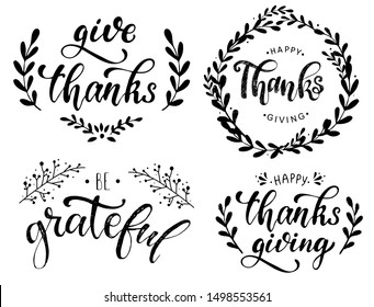 set of four vintage lettering quotes for Thanksgiving isolated on white background. print, poster, banner, sticker, greeting card design. festive typography inscription. EPS 10