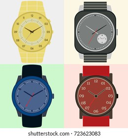 Set of four watches. Clock face with hour, minute and second hands. Vector illustration.