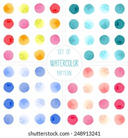 Set of four watercolor simple polka dot patterns. Seamless patterns on the white background. Vector illustration.