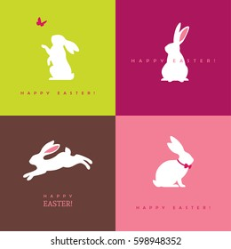 Set of four white bunny silhouettes for Easter greeting card, banner or poster design. Rabbit icon.
