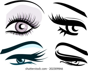 Set of four woman eye shape silhouettes with eyebrows long eyelashes vector icons