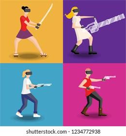 Set of four women gaming in virtual reality glasses with virtual minigun, revolver,shotgun and katana. in flat cartoon style.