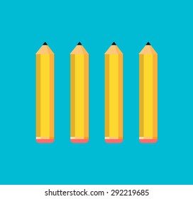 Set of four yellow pencils on the blue background