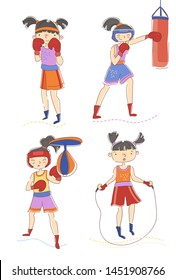 Set of four young woman or girls boxing and skipping over a rope with one in the defensive pose, one punching a bag and the last punching a pummel over white