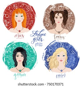 Set of four zodiacs- Aries, Taurus, Gemini and Cancer in images of beauty girls. Vector illustration for column Horoscope includes modern hand drawn lettering and dates