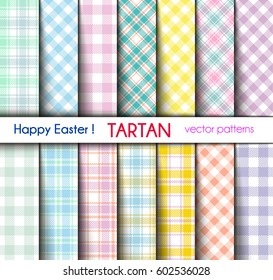 Set of Fourteen Easter Colors Tartan and Gingham Plaid Vector Patterns.