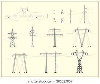 Set of fourteen high voltage power lines / Set of fourteen electric power transmission tower (black silhouette)