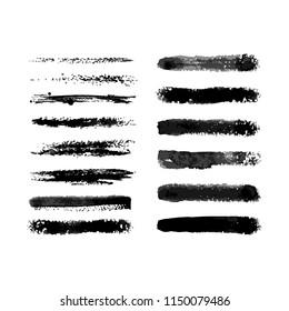 Set of fourteen vector hand created watercolor semi dry brushes with transparent gradations of one color. There are all of them on brushes panel.