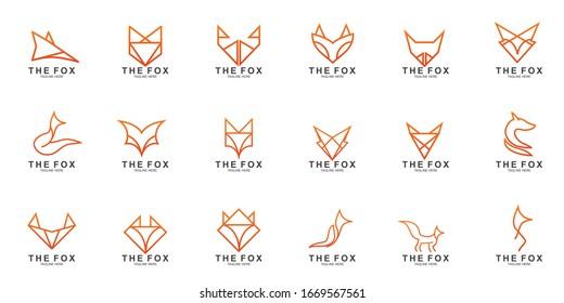 Set of Fox logo with modern concept. Vector icon fox design