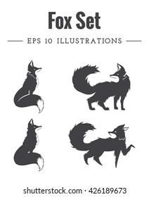 Set of fox silhouettes made in vector. | Vector Illustrations