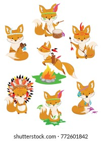 Set of foxes of Indians. Collection of little cute foxes in Indian costumes. Colorful vector illustration for children.