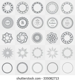 Set fractal and swirl shape element. Vintage monochrome different objects. Vector decorative sample. Diaphragm, border, outline black color in white background