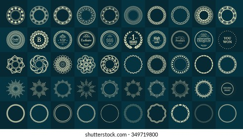 Set fractal and swirl shape element. Vintage monochrome round objects. Vector decorative sample. Diaphragm, border, outline yellow color in green blue background. Round black shapes with text