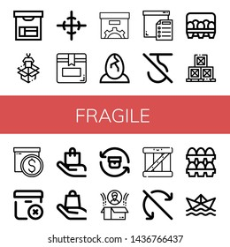 Set of fragile icons such as Box, Packaging, Center of gravity, Eggs, Do not use hook, Boxes, Delete package, Handle with care, Return, Do not roll, Paper ship , fragile