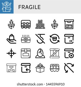 Set of fragile icons such as Box, Packaging, Eggs, Boxes, Handle with care, Cardboard box, Do not use hook, Return, Center of gravity, Delete package, Egg, Do not roll , fragile