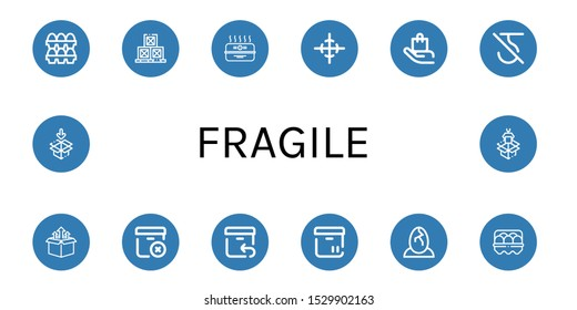 Set of fragile icons. Such as Eggs, Boxes, Cardboard box, Center of gravity, Handle with care, Do not use hook, Box, Delete package, Return, Egg, Packaging , fragile icons