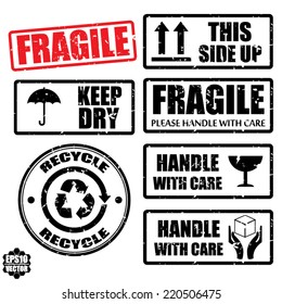Set of fragile sticker handle with care and case icon packaging symbols sign, keep dry, do not litter and this side up rubber stamp on white background, vector illustration