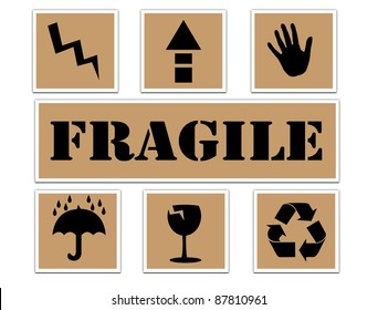 Set of fragile stickers, isolated and grouped objects against white background