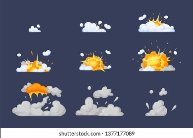 Set of frame comic animation with effect of fun explosion, divided into separate scenes framed artwork. Fire smoke, nuclear explosion, burning with elements flame, particles. Vector cartoon animation