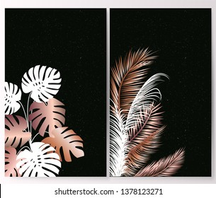 Set frame. Foliage with monstera and palms. Botanica background. Invitation with jungle leaves. Vector illustration