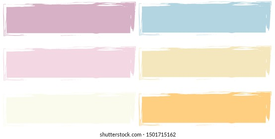 Set frame rectangle orange yellow pink brush stroke. Grunge brush vector hand drawn icon.
