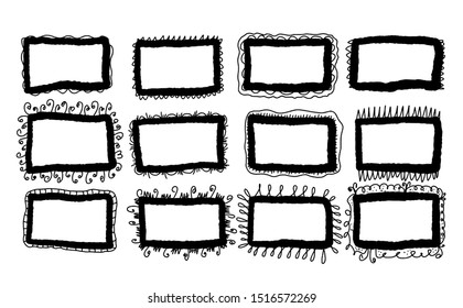 Set of frames. Bundle of hand drawn borders. Collection of decoration elements for collage. Vector illustration.