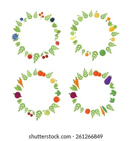 Set of frames with colorful vegetables and fruits in vector for design