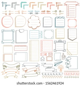 Set of frames, corners, dividers, ribbons and design elements for bullet journal, notebook, diary and planner.