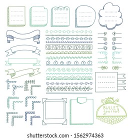 Set of frames, corners, dividers, ribbons and design elements for bullet journal, notebook, diary and planner. Doodle banners isolated on white background.