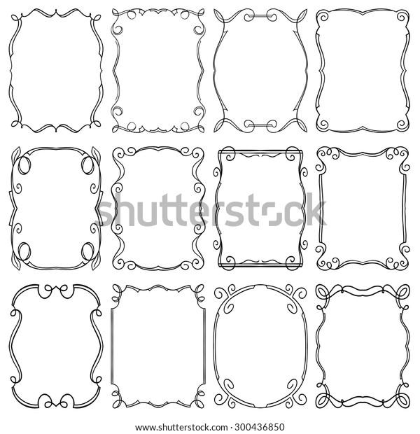 Set Frames Design Elements Editable Vector Stock Vector