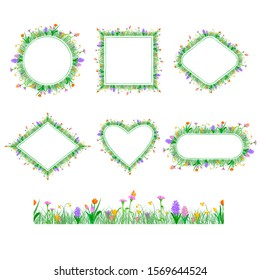 Set of frames and extendable to endless seamless border with spring flowers: hyacinth,tulip,crocus,narcissus.Frames in form of circle,rectangle,square, rhombus, heart.Vector isolated illustration.