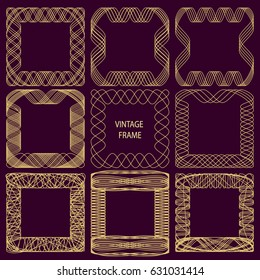 Set of frames of fine lines in vintage style. Golden ornate spirographic pattern on a dark lilac background. Vector illustration.