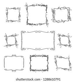 set of frames. hand-drawn vector illustration