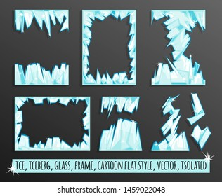 Set of frames ice. Vector image in flat cartoon style. Isolated