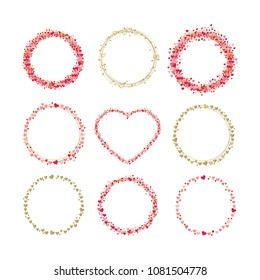 Set of frames made from hearts. Cute round borders with space for text. Collection wreaths hearts